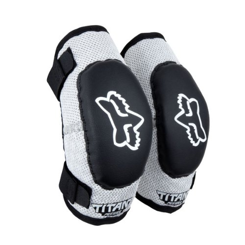 FOX TITAN KIDS ELBOW GUARDS BLACK/SILVER MD/LG AGES 6-9
