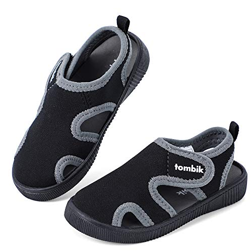 tombik Toddler Water Shoes Boys Kids Beach Sandals for Summer Camp, Pool Swim Black/Gray 9 US Toddler
