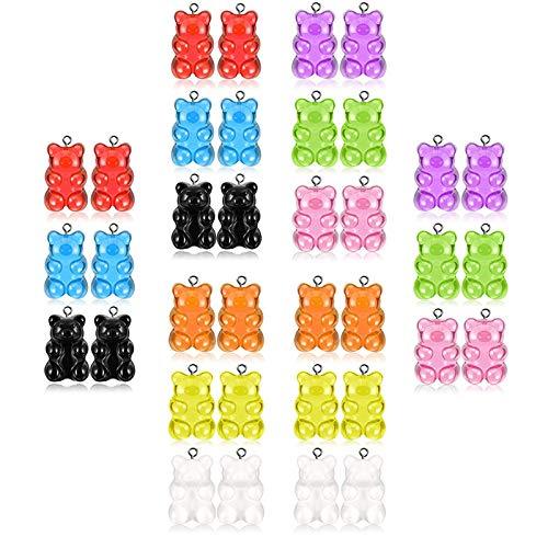 Colgantes Coloridos de Encantos del Oso de Resina Oso de Resina de Llaveros Colgante de Resina Colorido en Forma de Oso Colgantes de resina de gomitas de colores Para joyería de bricolaje 36 Pcs