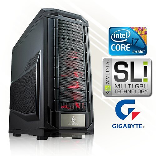 PC24 SLI Gaming PC met Intel i7-3770K 4 Core 4,00GHz Ivy Bridge | 2x nVidia GF GTX 680 met 2048MB GDDR5 RAM DX11.1 | 16GB DDR3 PC1600 G.Skill | 1000GB Seagate HDD | Gigabyte GA-Z77X-UD3H Socket 1155 | LG DVD-brander 22x | Adapter Thermaltake 80+ Power ATX 750 Watt  - i7-3930K mit 2x GTX 670