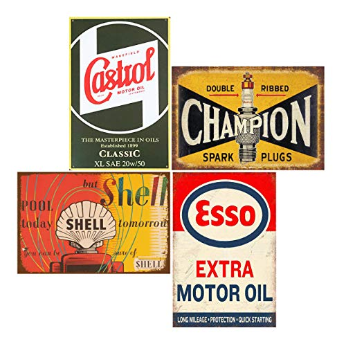 Tin Signs 4 Pieces Reproduction Vintage, Gas Oil Car Metal Signs for Garage Man Cave Bar, Retro Wall Decor, 8x12 Inches (Castrol)