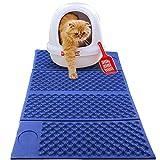 Cat Litter Mat, Kitty Litter Trapping Mat, Cat Litter Box Mat Scatter Control, Soft on Sensitive Kitty Paws, Fácil De Limpiar Y Protección De La Alfombra del Piso, 28.5 X 18.5In,Azul