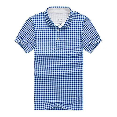 EAGEGOF Homme Polo Sport T-Shirt Manche Courte Technique Performance Golf Tennis Course Confortable Décontracté Chemise Plaid Bleu, EN703 - XXL
