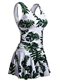 Summer Mae Costume da Bagno Interi Donna Vestito Costumi Mare con Stampa Taglie Forti Foglia Verde 4XL
