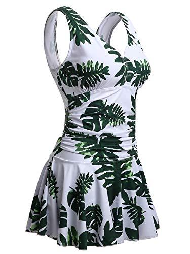 Mujer Bañador con Falda Traje de Baño de Una Pieza de Talla Grande Impresión Elegante Sexy Push Up Monokini Blanco/Hoja Medium 40-42 EU