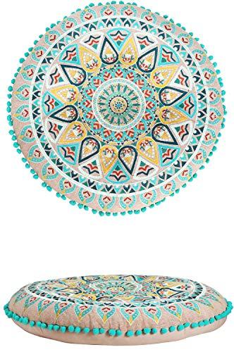 Orientalische Kissen Bodenkissen Bunt aus Baumwolle ø 55cm inklusive Füllung | Marokkanisches Sitzkissen Sitzpouf Badar -2- Rund | Orientalisches rundes Yogakissen Meditationskissen bestickt