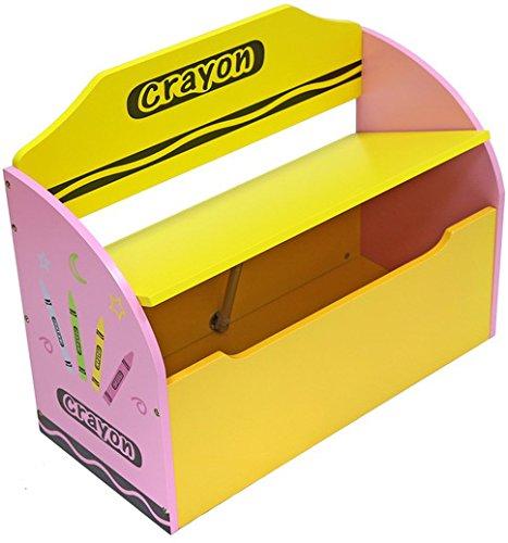 Kiddi Style Caja Juguetes y Banco para Niños - Madera -Diseño de ceras de colores