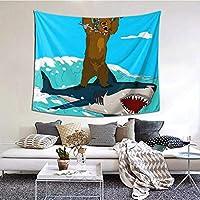 漫画のクマの乗馬サメ タペストリー 壁飾り 家 リビングルーム ベッドルーム 部屋 おしゃれ飾り60x50inch/150x130cm