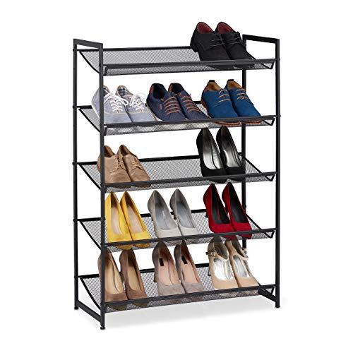 Relaxdays Zapatero Metálico 5 Estantes, Organizador Zapatos, 15 Pares, Ampliable, Metal, 1 Ud, 105 x 74,5 x 30 cm, Negro