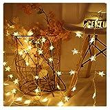 Smniao Cadena de luces LED, enchufe de la UE, 3,7 m, 8 modos, blanco cálido, estrella brillante, 20 luces LED nocturnas, árbol de Navidad, decoración de Halloween, para interior y exterior