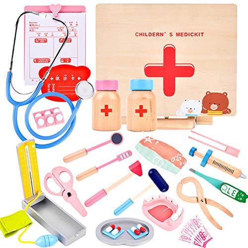 MAJOZ0 28 Piezas Doctora Juguetes de Madera, Maletin Medicos Juguetes, Dentista Enfermera Juguetes de rol Kit Regalo para Nios