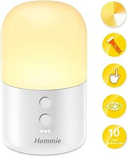Luz Nocturna Infantil,Hommie 2 EN 1 LED Luz Bebé Nocturna y Linterna, 4 Colores y Brillo Ajustable, Control Táctil,Recargable, Seguro Calidad, Resistente a Rotura, Cuidado Ojos,Lámpara Habitación Bebé