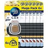 Ambi Pur Car Lenor Oro e Fiori Deodorante per Auto Usa e Getta, Freschezza Naturale, Mega Pack 6 x 2 ml