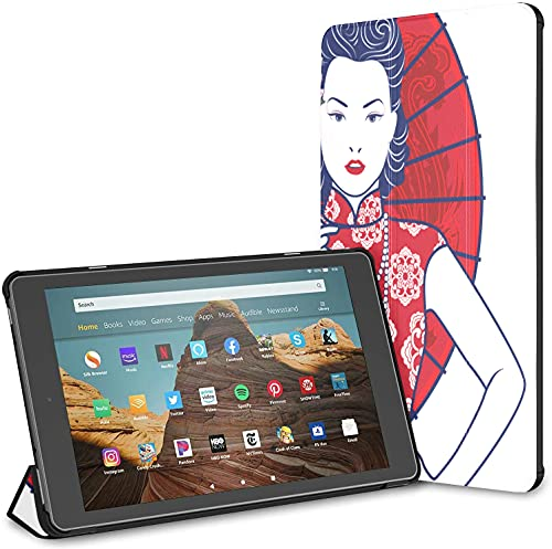 Custodia per tablet Chinese Lady Fire Hd 10 blu e bianco (9a settima generazione, versione 2019 2017) Custodia per tablet Fire Hd 10 Custodia per tablet Fire Hd 10 riattivazione automatica per tablet