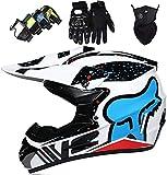 AZBYC Casco Moto Niño, Cascos De Motocross De Moto,Enduro,Descenso,Full Face para Hombre, Casco De Carreras Dot Aprobado,Casco Motocross Infantil con Diseño De Fox,S