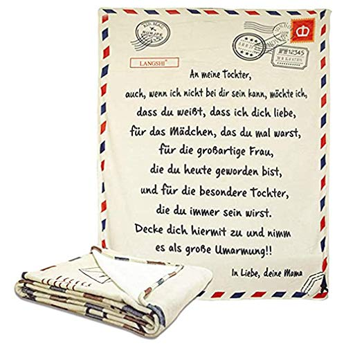 Brief Flanell Decke Deutsche Postkarte Decke Positive Energie Weihnachten Thanksgiving Geburtstagsgeschenk Tochter Geschenk Herbst Winter Decke