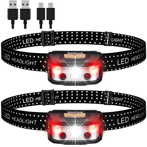 ヘッドライト 充電式 led ヘッドランプ SGODDE IPX65防水 2個セット 高輝度 センサー機能 長押し機能 超軽量 角度調整可 釣り 登山 キャンプ 散歩 アウトドア 災害 停電用