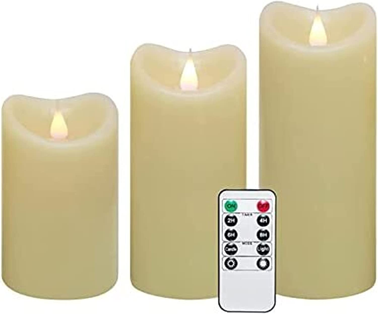 Jsmhh Moving Wick Flameless Same day shipping 10 Direct store Key Timer 5 by Remote 6 3-Inch