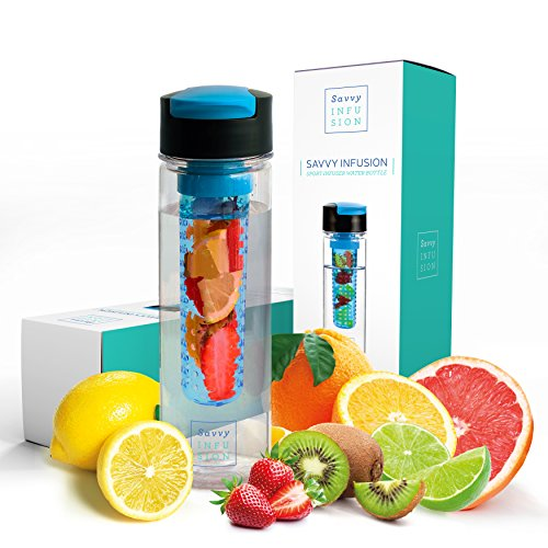 Savvy Infusion Flip Top Fruit Infuser Water Bottle - Unique Leak Proof Lid Perfect for Runs, Walks,...