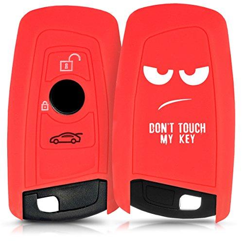 kwmobile Funda Compatible con BMW Llave de Coche con Control Remoto de 3 Botones (Solo Keyless Go) - Carcasa Protectora Suave de Silicona - Don't Touch my Key