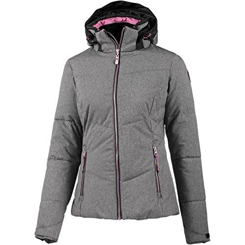 Killtec Damen Jacke In Daunenoptik mit Abzipbarer Kapuze und Schneefang Poppy, graumelange/Schwarz, 40