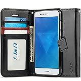 JundD Kompatibel für Huawei Nova 2 Plus Leder Hülle, [Handytasche mit Standfuß] [Slim Fit] Robust Stoßfest PU Leder Flip Handyhülle Tasche Hülle für Huawei Nova 2 Plus Hülle - Schwarz