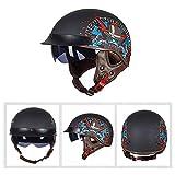 大人用レトロバイクヘルメット、ヴィンテージクラシックオープンハーフヘルメットヘルメット、バイザー付き、プロフェッショナルバイクジェットヘルメット、女性および男性用ストリートバイククルーザースクーター (色 : 3, サイズ : XX-Large)