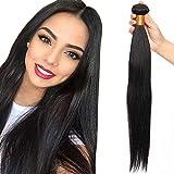 24'(60cm) Extensiones de Cortina Pelo Natural Humano Cabello Virgen Brasileño 100% Remy Brazilian Human Hair Bundles Liso Largo (100g,#1B Negro Natural)