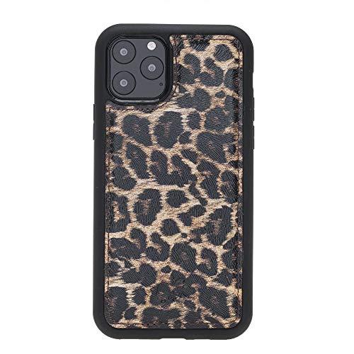 Venito Lucca Leder-Schutzhülle für iPhone 11 Pro (5,8 Zoll) mit Schnappverschluss, gepolsterte Rückseite, handgefertigte Premium-Leder-Hülle, Leopardenmuster