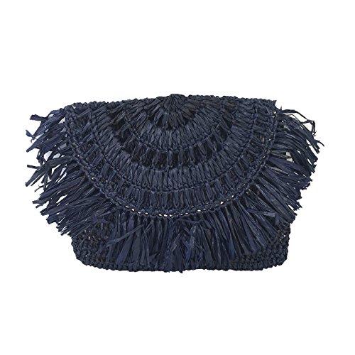 Mar Y Sol Mia Crochet Raffia Fringe Clutch, Navy