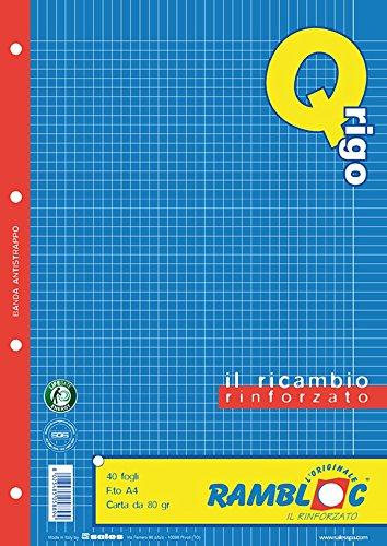 Ricambio rinforzato Rambloc Pacco da 4 Ricambi A4 5MM CON MARGINE (160 fogli totali)
