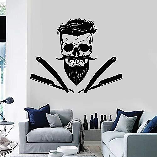 Crâne Sticker mural rasage barbe coupe de cheveux porte fenêtre vinyle autocollants salon de coiffure hommes salon de coiffure décor intérieur créatif Mural