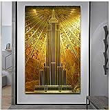 DNJKSA Gold Empire State Building Poster Art Deco Canvas