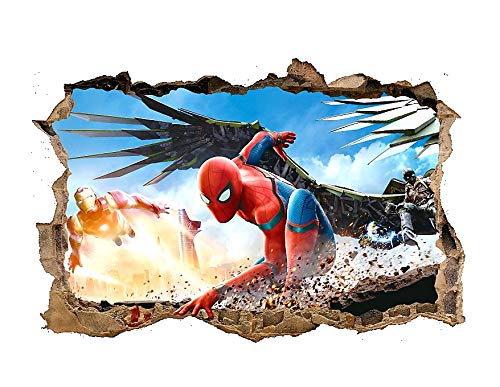 Kibi 3D-effekt Aufkleber Spiderman im Wanddurchbruch Loch Marvel's Spider-Man Ultimate Wandtattoo Kinderzimmer Spiderman Wandsticker Spiderman Wandaufkleber Spiderman