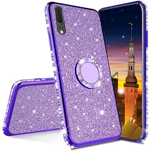 MRSTER Compatibile con Huawei Mate 10 PRO Custodia Glitter Bling Scintillante Brillantini Custodia con Ring Kickstand Rotante a 360 Gradi Donna Cover per Huawei Mate 10 PRO. Purple