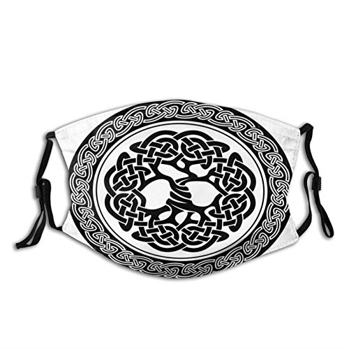 Fashion Comfortable Windproof mask,Native Celtic Tree Of Life Figure Ireland Early Renaissance Artsy Modern,Double Printed Facial decorations for adult