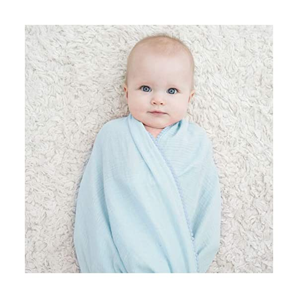 TILLYOU Organic Muslin Swaddle Blanket for Infant, Newborn, Toddler, 100% Soft Cotton Swaddling Receiving Blanket with Pom Pom, Large Lightweight Baby Wrap Blanket, 44×44 Galaxy Space