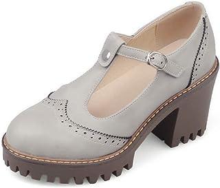 BalaMasa Womens ASL06473 Pu Block Heels