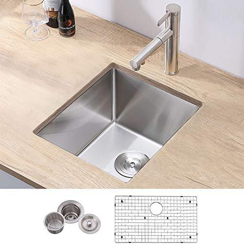 VCCUCINE 14x18 Inch Stainless Steel Brushed Nickel Single Bowl Prep Bar Kitchen Sink,18 Gauge Kitchen Sink with Grid and Strainer