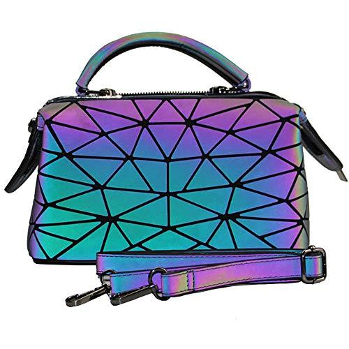 Marber Mujer Luminoso Bolso de mano Boston Bolsa Nightglowing Triángulo geométrico Lingge...