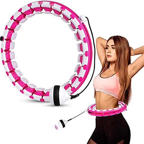 Smart Fitness Hula-Hoops Reifen, 26 Artikulierte Reifen Verstellbare Fitness Hoola Hoop mit Schwerkraftball, 360°Surround Gewichtsverlust Massage Hoop für Erwachsene, Kinder und Anfänger Abnehmen
