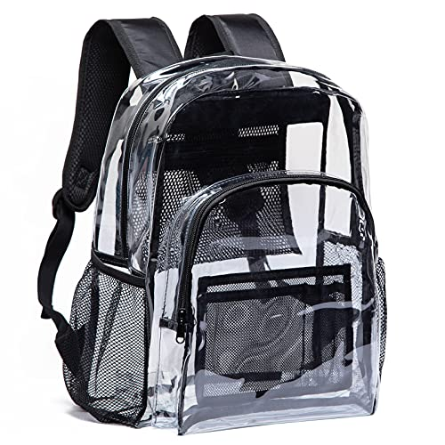 Vorspack Clear Backpack Heavy Duty PVC Transparent Backpack with Reinforced Strap for College Workplace - Black