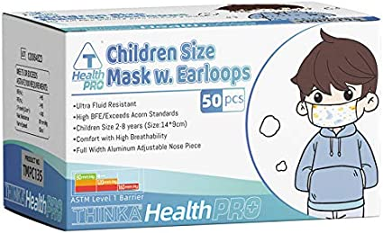 THINKA CHILDREN SIZE MASK W. Earloops (50pcs), ASTM L1 Approved Face Mask (Health and Beauty)