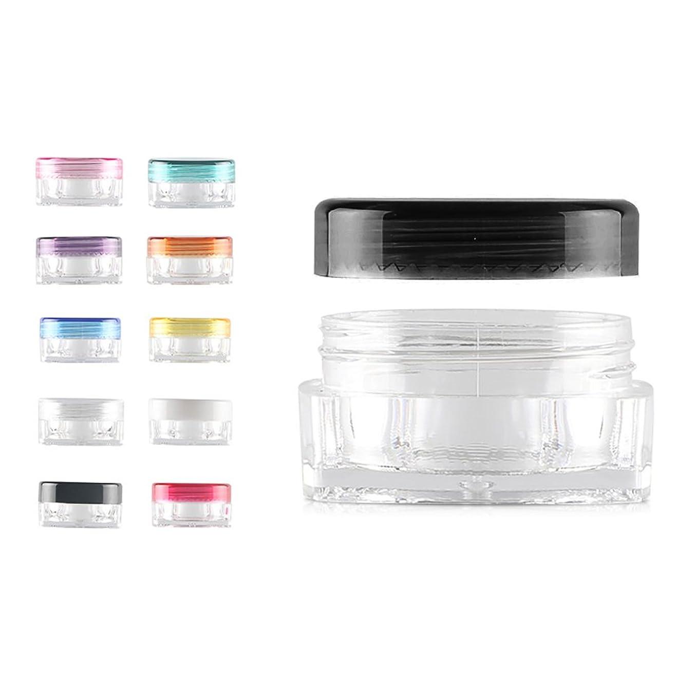コマンドピーク証明書12 PCS熱望薄型デザインミニリップクリームサンプルコンテナ クリーム ネイルアート製品(3g 5g) BPAフリー用トラベル化粧品の瓶 - ブラック - 3g
