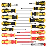 Amartisan 15-Piece Magnetic Screwdrivers Set, 5 Phillips 5 Slotted Tips and 5 Insulated Screwdriver Set (1000V),Professional Cushion Grip Screwdriver Set