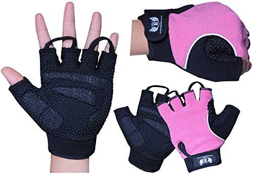 BOOM Prime Pink Damen Fingerlos Fahrradhandschuhe mit Gel Gepolstert Handgelenkstütze Palm Schutz Atmungsaktiv rutschfest Handschuhe für Fitness Krafttraining, Deadlifts, Fahrrad, Rollstuhl, Krücken