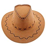 YiyiLai テンガロンハット つば広 帽子 カウボーイ ウエスタン ハット メンズ レディース 帽子 ワイルド 男性 大人用 オークル