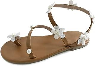 2f9905881bbbb6 Minetom Femmes Bohême Sandales Plates Été Boho Peep Clip Toe T-Sangle  Chaussures De Plage