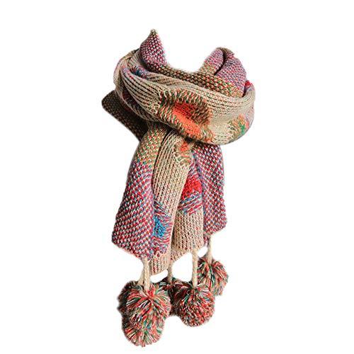 Demarkt Damen Schal Warm Winterschal Strickschal bunter Grobstrick Schlauchschal mit abnehmbaren Bommeln Beige