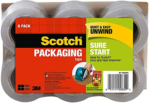 "Scotch Sure Start Packaging Tape, 1.88"" x 25 yd, Designed for Packing, Shipping and Mailing, No Splitting or Tearing, 1.5"" Core, Clear, 1 Pack (6 Rolls)"